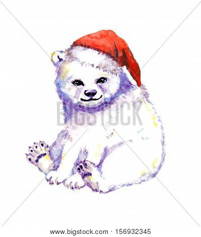 Cute polar bear cub, white bear in red santa hat. Watercolor animal