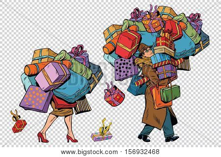 Holiday sales, a couple man and woman with shopping, pop art retro vector illustration. The background to simulate transparency