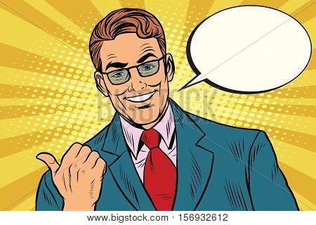 Smiling businessman showing big finger to the left, pop art retro vector illustration