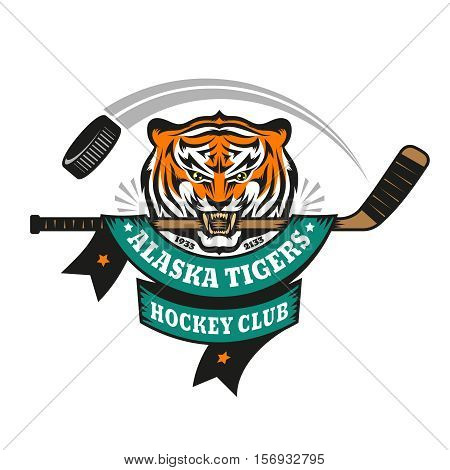Hockey logo mascot emblem of a tiger holding a hockey stick in his teeth on a white background. Layered vector illustration - easy to edit.