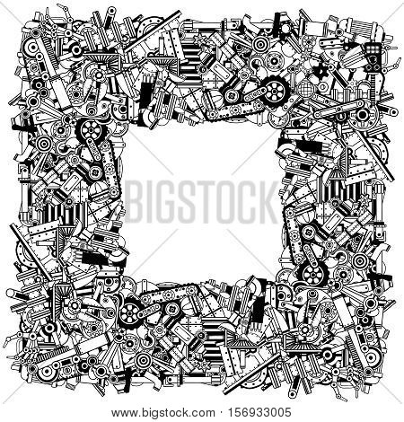 Frame from a variety of spare parts and scrap metal. Black and white outline vector illustration.