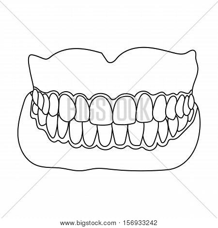 Jaw icon in outline style isolated on white background. Medicine and hospital symbol vector illustration.