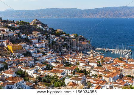 Bird's-eye view of Hydra island, Greece.