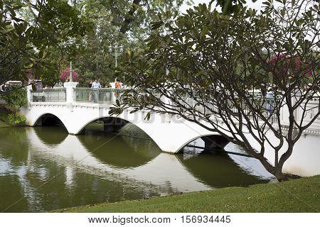 AYUTTHAYA, THAILAND - November 4, 2016: View of a bridge in the gardens of Bang Pa-in Palace in Ayutthaya Thailand