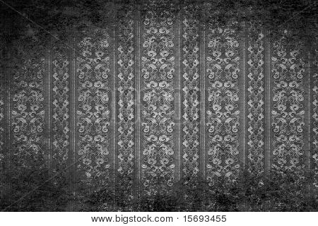 Silver textured old wall with grungy victorian wallpaper