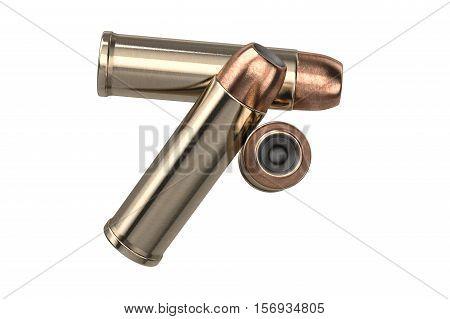 Bullet gun copper round projectile. 3D illustration