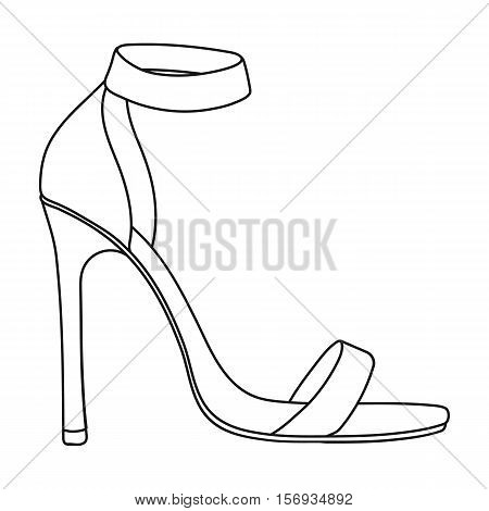 Ankle straps icon in outline style isolated on white background. Shoes symbol vector illustration.