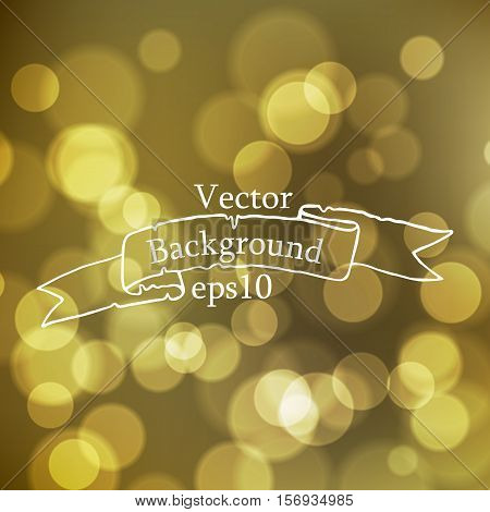 Stock blurred texture with bokeh effect and ribbon in vintage style with the inscription