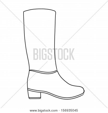 Knee high boots icon in outline style isolated on white background. Shoes symbol vector illustration.