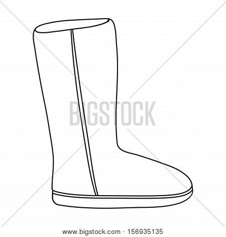 Ugg boots icon in outline style isolated on white background. Shoes symbol vector illustration.