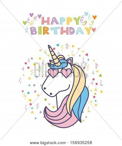 happy birthday card with cute unicorn icon over white background. colorful design. vector illustration