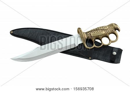 Knife with sheath ornate, top view. 3D illustration