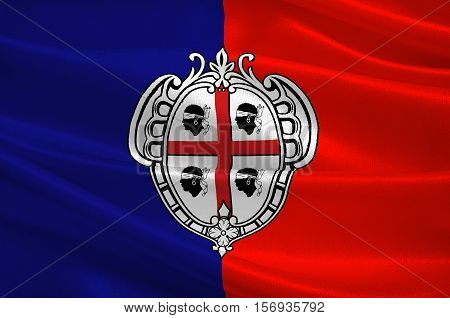 Flag of Cagliari is an Italian municipality and the capital of the island of Sardinia an autonomous region of Italy. 3d illustration