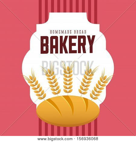 bread with ears of wheat over pink background. bakery shop design. vector illustration