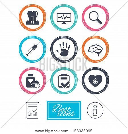Medicine, medical health and diagnosis icons. Blood, syringe injection and neurology signs. Tooth implant, magnifier symbols. Report document, information icons. Vector