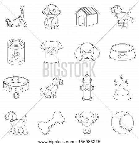 Dog equipment set icons in outline style. Big collection of dog equipment vector symbol stock