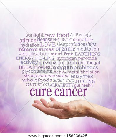 Words associated with holistic cancer cures -  a female hand facing up with the words CURE CANCER floating above with a relevant word cloud above on a pale purple background