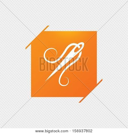 Needle with thread icon. Tailor symbol. Textile sew up craft sign. Embroidery tool. Orange square label on pattern. Vector