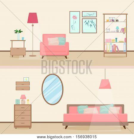 Colorful flat style modern livingroom interior illustration