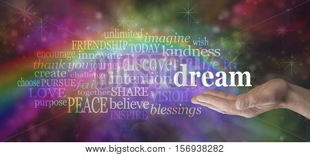 Dare to Dream word cloud - Male hand outstretched palm up with a rainbow emerging from his hand and the word DREAM floating above surrounded by a relevant word cloud on a multicolored background
