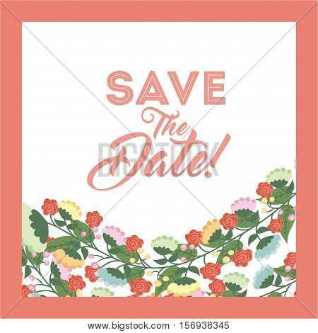 save the date card with decorative flowers over white and pink background. colorful design. vector illustration