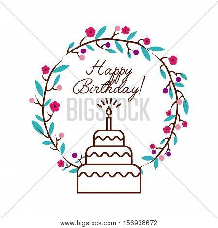 happy birthday card with colorful wreath flowers and cake icon over white background. vector illustration