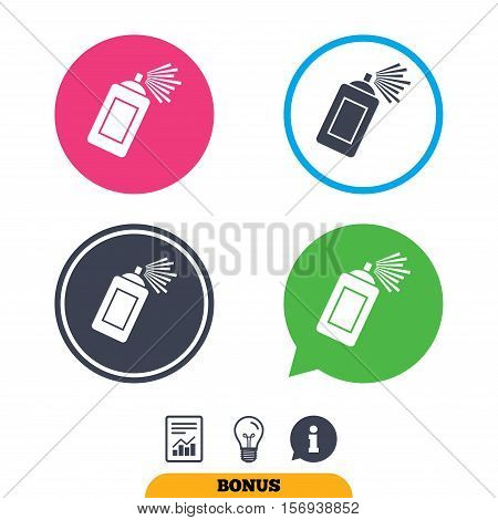 Graffiti spray can sign icon. Aerosol paint symbol. Report document, information sign and light bulb icons. Vector