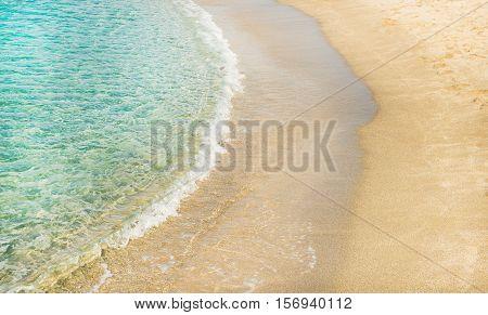 Turquoise clear blue sea water of Mediterranean sea and sandy coast at Cleopatra beach in Alanya, Antalya region, Turkey coast