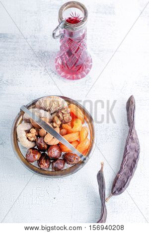 Mixture of dried fruits and nuts, carobs