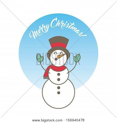 colorful merry christmas card with snowman icon. vector illustration