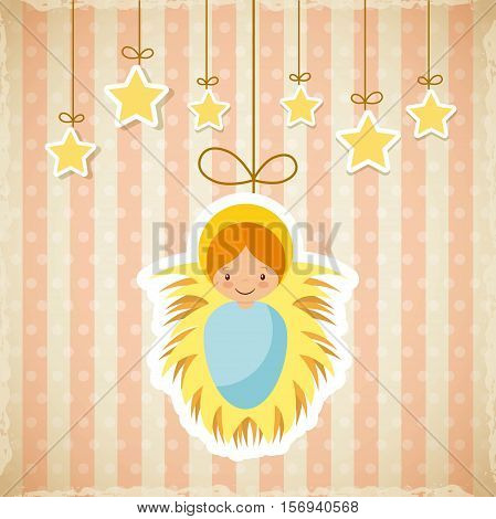 cartoon baby jesus icon with decorative stars hanging. merry christmas design. vector