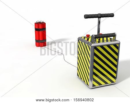 dynamite pack and detenator.isolated on white. 3d illustration.