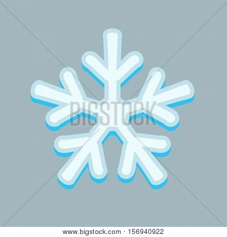 Simple snowflakes isolated on grey.