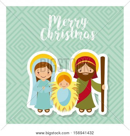 card of holy family manger scene. merry christmas colorful design. vector illustration