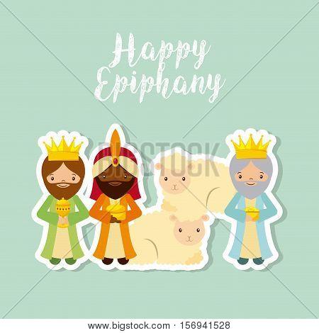 cartoon three wise men. happy epiphany design. vector illustration