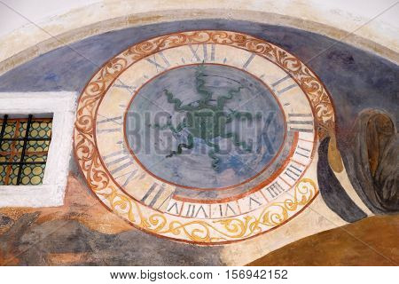 DUBROVNIK, CROATIA - DECEMBER 01: Clock in the cloister of the Franciscan monastery of the Friars Minor in Dubrovnik, Croatia on December 01, 2015.