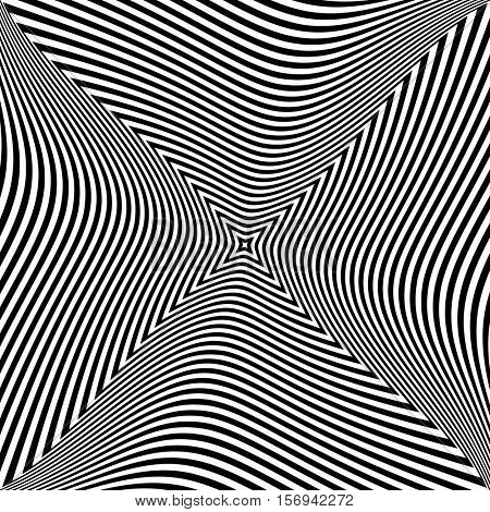 Abstract op art design. Torsion movement effect. Vector illustration.