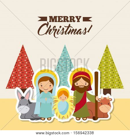 holy family manger scene with animals. card of merry christmas colorful design. vector illustration