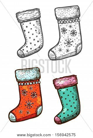 Christmas stockings. Vector isolated sketch icons. Traditional new year symbol of hanging christmas stockings decorated with winter snowflakes for Santa gifts