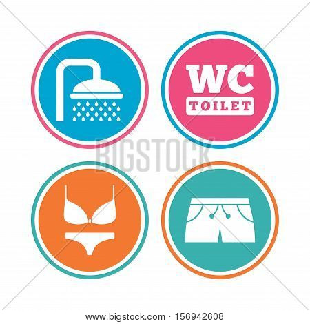 Swimming pool icons. Shower water drops and swimwear symbols. WC Toilet sign. Trunks and women underwear. Colored circle buttons. Vector