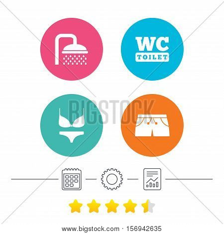 Swimming pool icons. Shower water drops and swimwear symbols. WC Toilet sign. Trunks and women underwear. Calendar, cogwheel and report linear icons. Star vote ranking. Vector