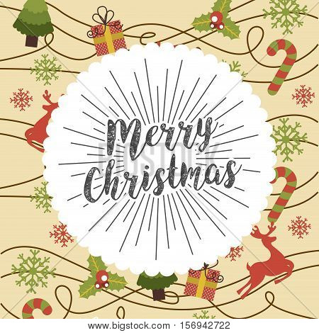 colorful merry christmas card with decorative elements. vector illustration
