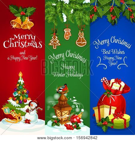 Christmas banners set. New Year decorated fir tree. Santa bag with gifts, sleigh. Winter holidays greeting cards with snowman, bullfinch, snow on pine tree branches, holly leaves with berries, jingle bells, christmas balls, gingerbread cookies