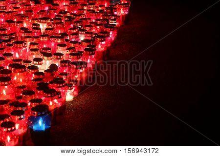 Lampions Burning On Floor At Night