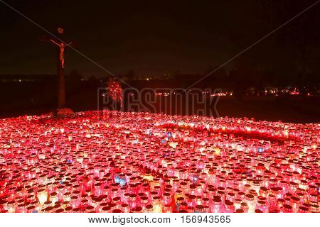 Lampions Illuminating Cemetery