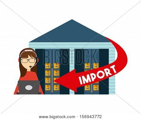 logistics support worker and warehouse with red arrow with import word. export and import colorful design. vector illustration