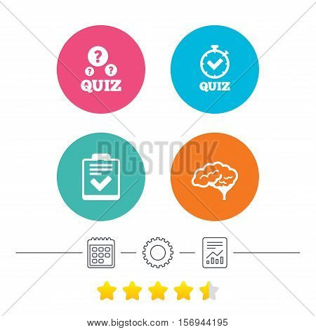 Quiz icons. Human brain think. Checklist and stopwatch timer symbol. Survey poll or questionnaire feedback form sign. Calendar, cogwheel and report linear icons. Star vote ranking. Vector