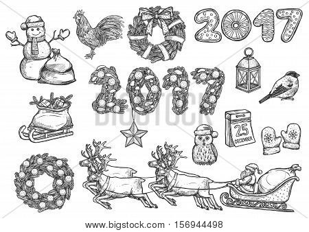Christmas, New Year isolated sketch icons set. Vector Rooster cock symbol, santa sleigh with reindeer, 2017 decorated numbers, gifts bag, pine wreath, mittens, christmas date calendar, bullfinch, lantern, star bauble ornament, owl