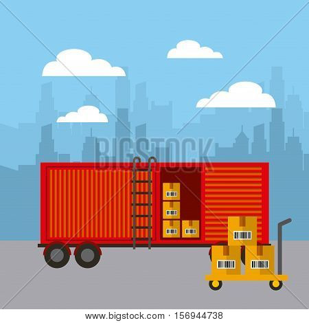 red cargo container with cargo boxes. export and import colorful design. vector illustration