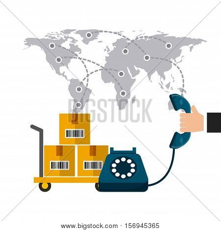 world map with handcart with boxes and human hand holding a telephone. export and import colorful design. vector illustration